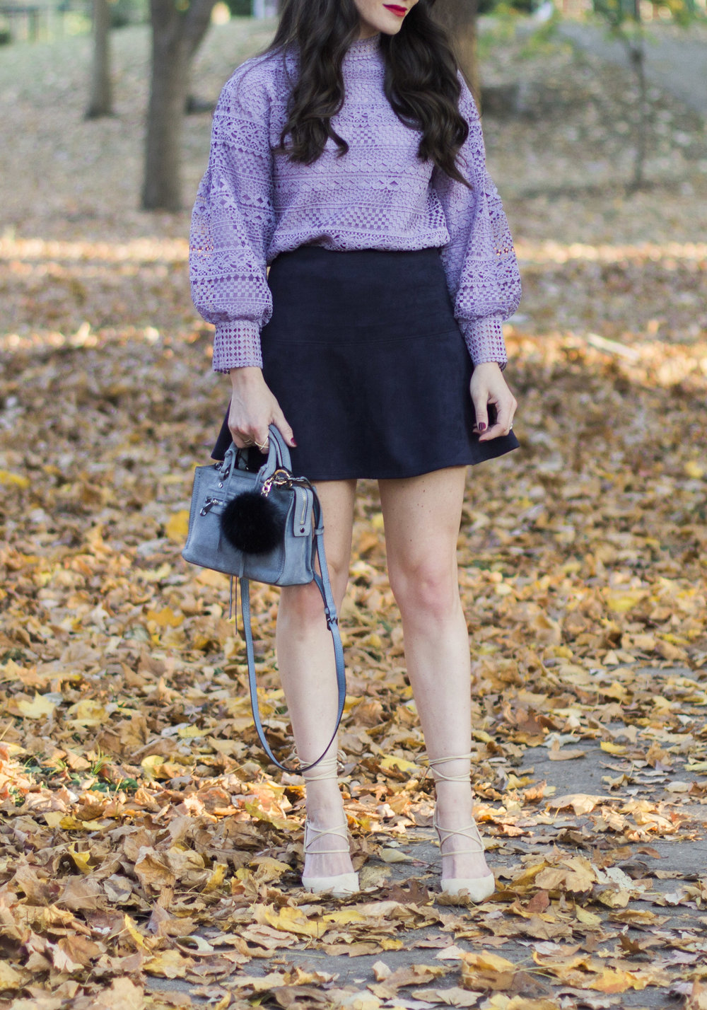 Easy and inexpensive holiday outfit ideas, Chicwish autumnal elegance crochet top, BB Dakota Abrams skirt, Sam Edelman Helaine pumps, Rebecca Minkoff Micro Avery Satchel, Mark & Graham Pompom Keychain.