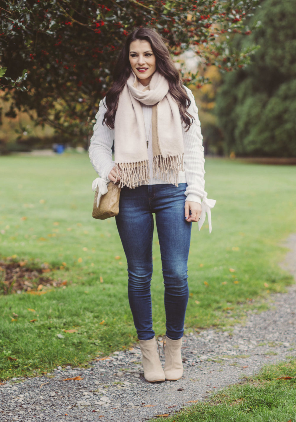 Cute fall outfits, English Factory Lace Up Sleeve Sweater, Vintage Chanel Handbag, Caslon Skinny Jeans, Toms Lunata Booties, & Scarf Similar to Free People Brushed Scarf