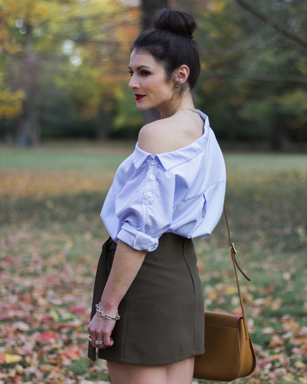 Day to night tops, cute fall outfits, off the shoulder top, Steve Madden over the knee boots, Chicwish preppy chic flap skirt, & Mark & Graham saddle bag.