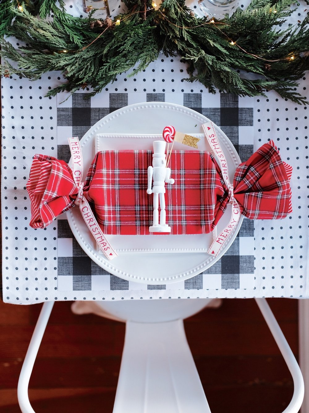 Budget friendly Christmas Tablescape, DIY Nutcracker Place Cards, Romantic Papyrus Christmas Card, Plaid Tablescape for Christmas, DIY Table Runner.