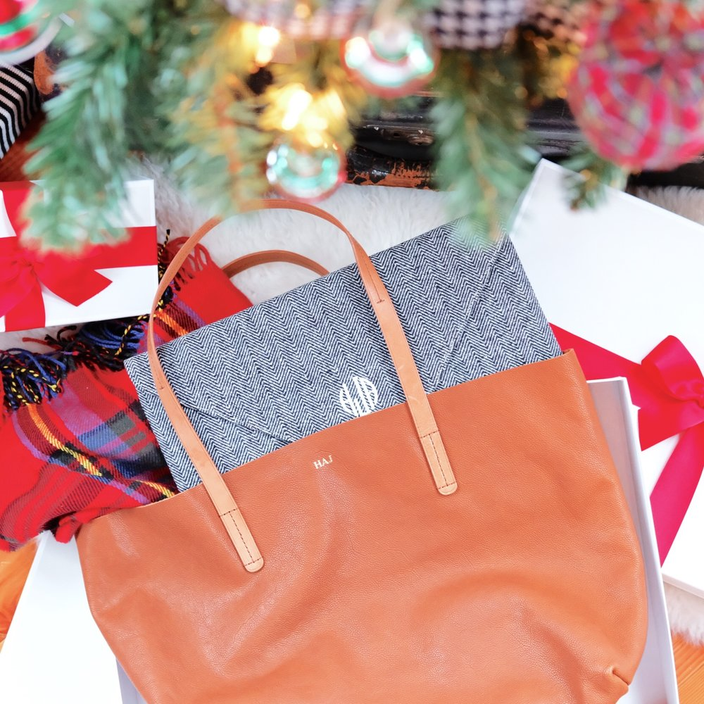 Mark and Graham Brooklyn tote, Herringbon laptop case, Personalized gifts for Christmas.