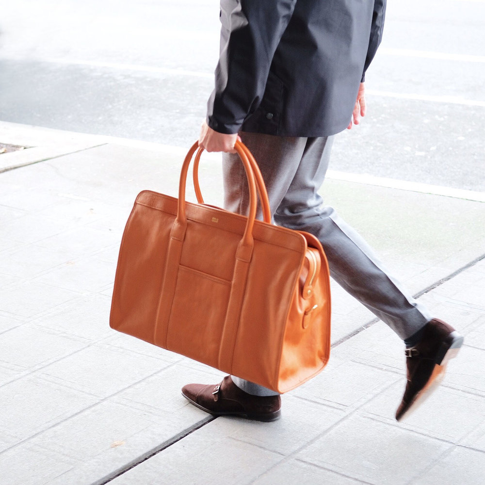 Mark & Graham weekend bag, Men's street style, Leather weekend bag.