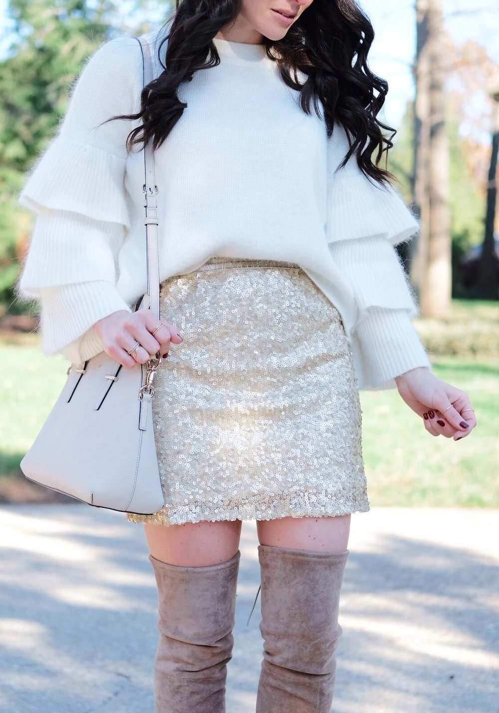 New Year's Eve Outfit Ideas, Sequin Skirt, Endless Rose Ruffle Sleeve Sweater, Stuart Weitzman Highland Dupes, & Kate Spade Cedar Street Maise.