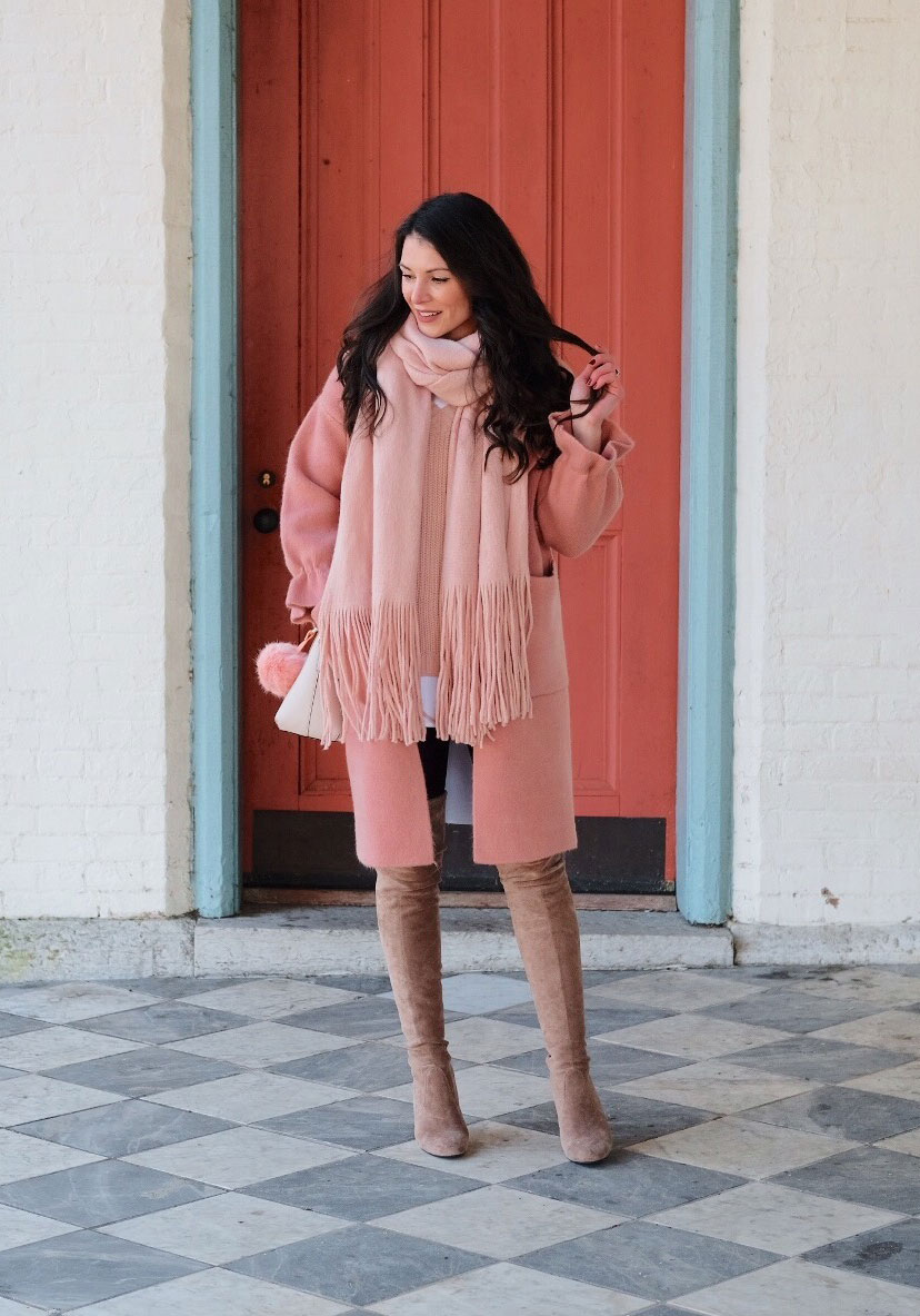 How to wear pastels in the winter, Stuart Weitzman Highland dupes, Spanx faux leather leggings, High low button-front top, Blush sweater, Chicwish wool blend coat, Free People Kolby brushed scarf, Kate Spade Cedar Street Maise handbag.