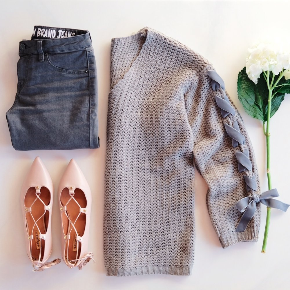 Cute winter outfit, DIY lace-up sleeve sweater, gray skinny jeans, & nude lace-up flats.