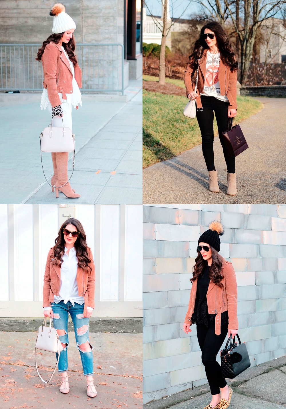Cute winter outfits.  4 ways to style the Blank NYC morning suede moto jacket.  Over the knee boot outfits.  Neutral winter outfits.