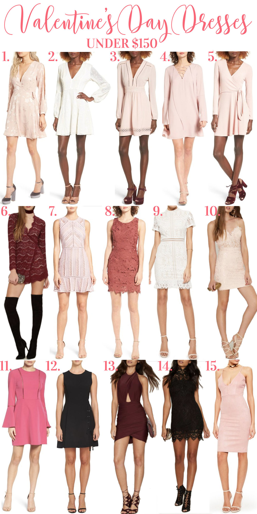 Affordable Valentine's Day dresses.  Dresses for Valentine's Day under $150.