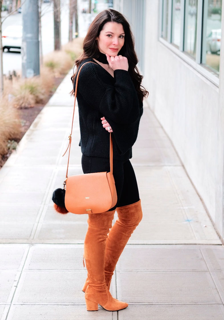 The best places to shop online for women's fashion.  Cute winter outfit, bell sleeve sweater with choker collar, black skinny jeans, Goodnight Macaroon over the knee boots, Mark & Graham daily crossbody bag, and Daniel Wellington watch.