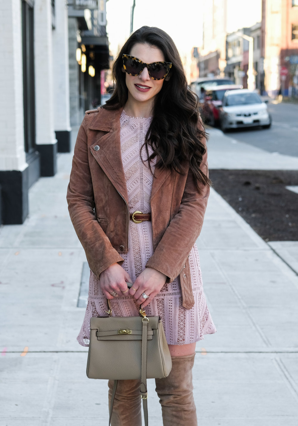 Cute spring outfit.  Dress with Stuart Weitzman Highland over the knee boot dupes, Blank NYC moto jacket, and Karen Walker sunglasses.