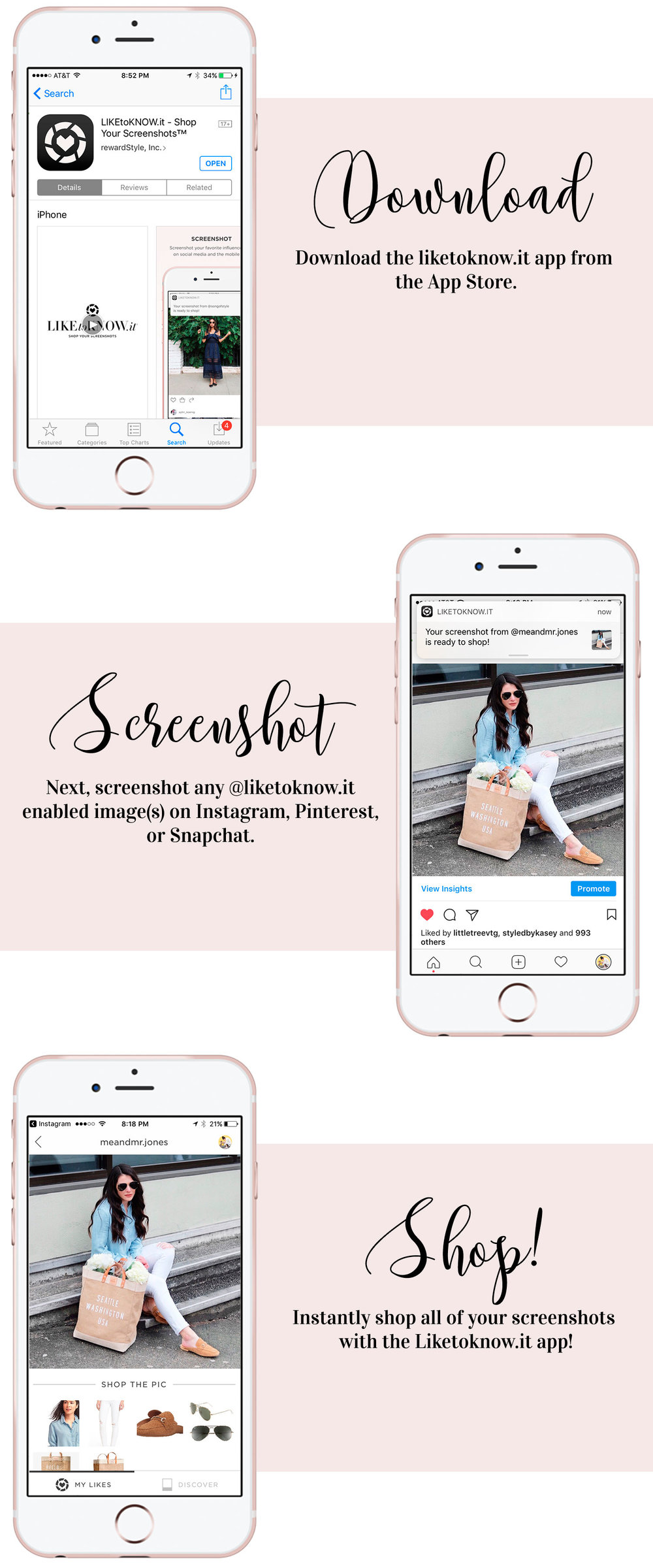 The best shopping app for iPhone.  How to use the liketoknow.it app to discover on trend affordable fashion online.