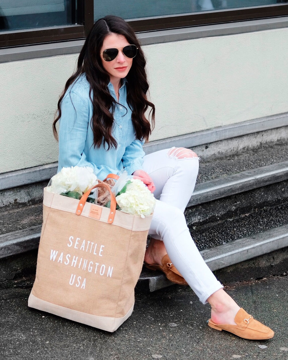 Steve Madden Razzi mules, chambray top with white skinny jeans.  How to use the liketoknow.it app.  The best shopping app to find on trend and affordable fashion.