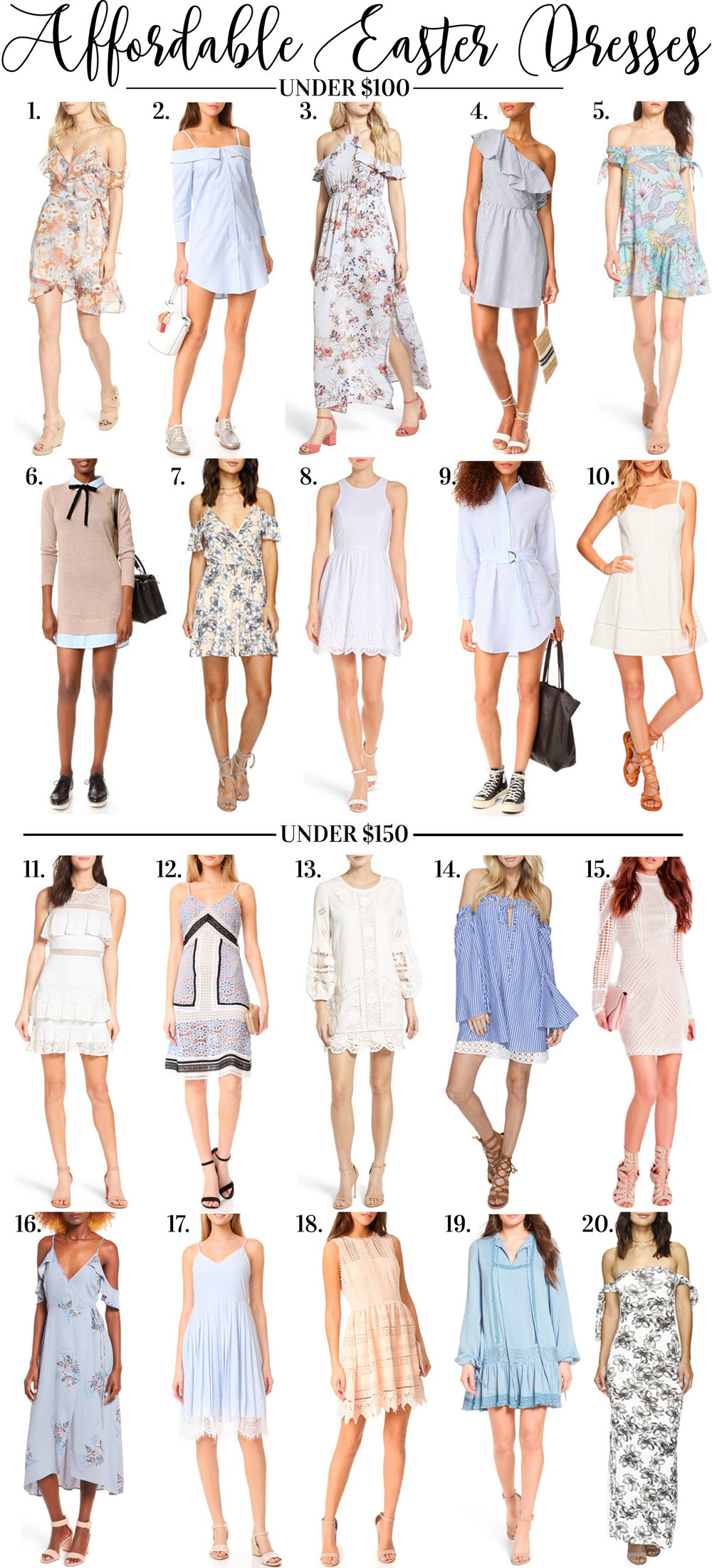 Affordable Easter dresses.  Inexpensive Easter dresses under $150.  Easter dresses under $100 for spring 2017.