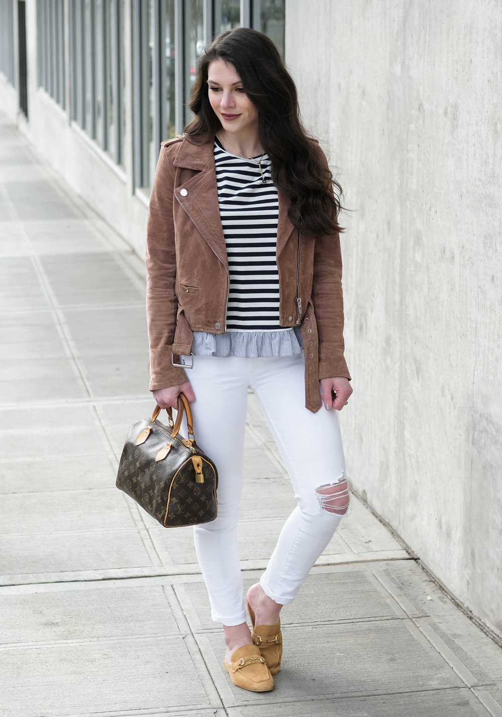 Steve Madden Razzi Mules, cute spring outfits with backless mules, Blank NYC suede moto jacket, cute spring outfits.