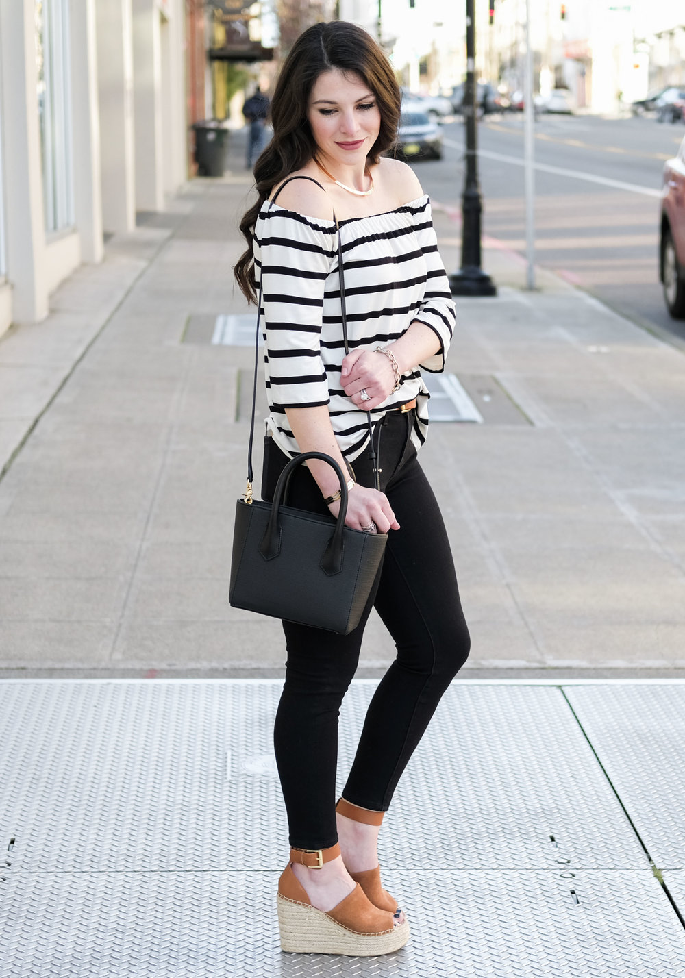 Cute spring outfit.  BB Dakota Geri Off the shoulder top, Marc Fisher Adalyn wedges, Dange Dover Mini Tote, Black outfit with Tan accessories.