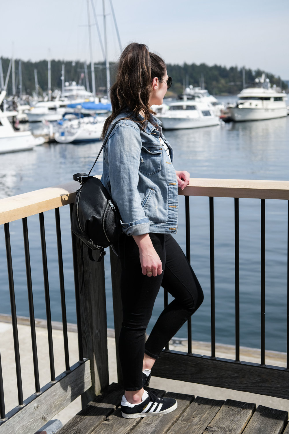 San Juan Islands Washington.  What to do for a weekend in the San Juan Islands.  Places to stay and eat on Orcas Island and Friday Harbor. Rebecca Minkoff medium Julian backpack, black skinny jeans, Adidas sneakers, and J.Crew denim jacket.