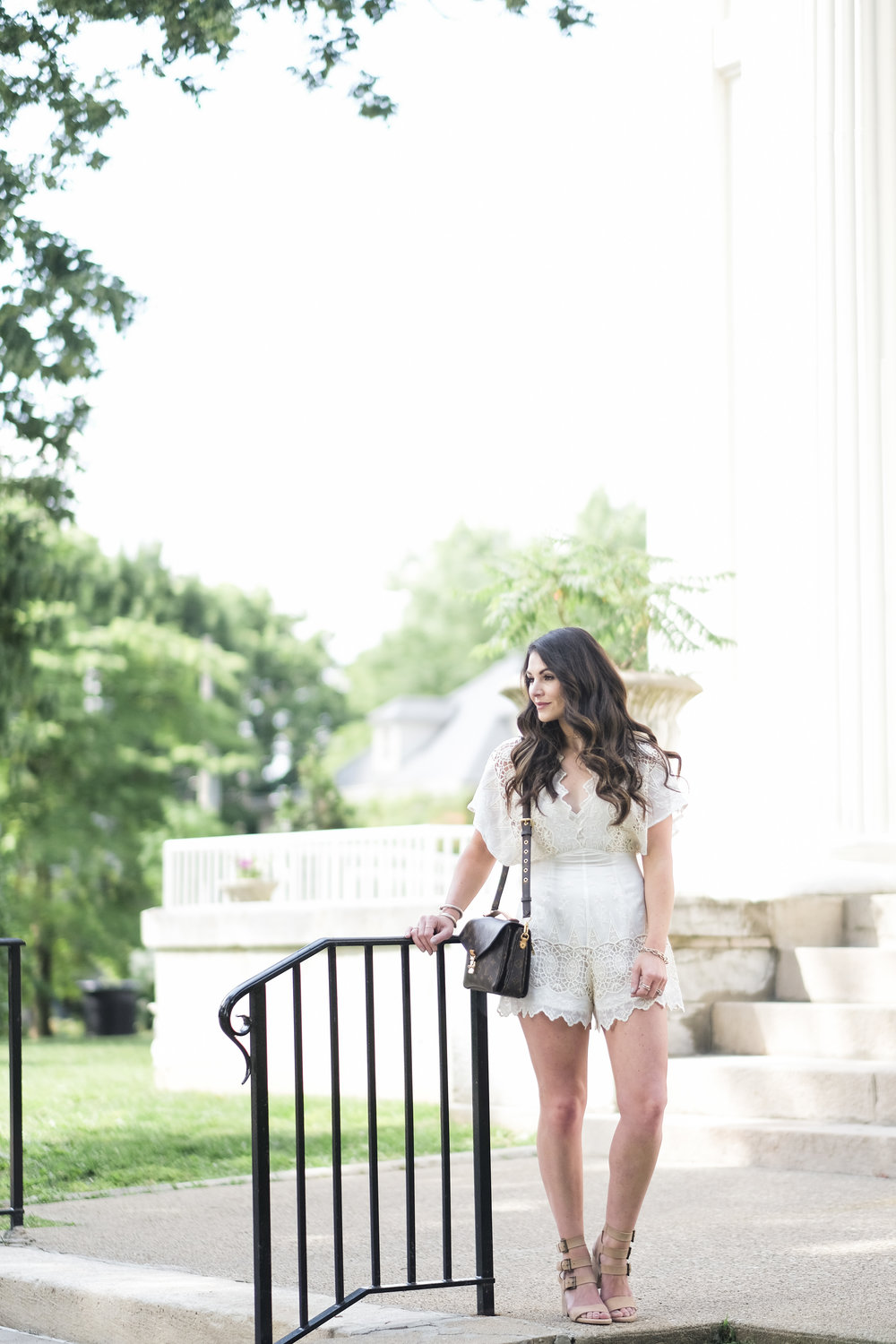 White dresses and rompers for bridal showers or rehearsal dinners.  Affordable Rehearsal dinner dresses.  Affordable bridal shower dresses.  ASTR the label Selena romper, Seychelles Dilly Dally Sandals.