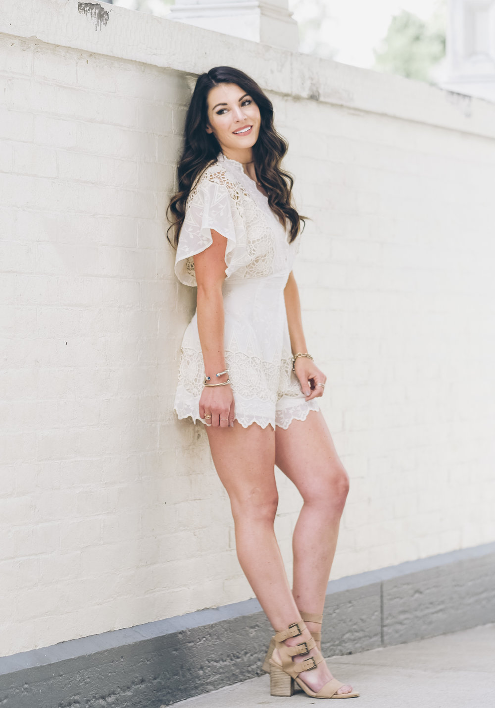 Cute affordable summer rompers, white romper for bridal shower or rehearsal dinner.