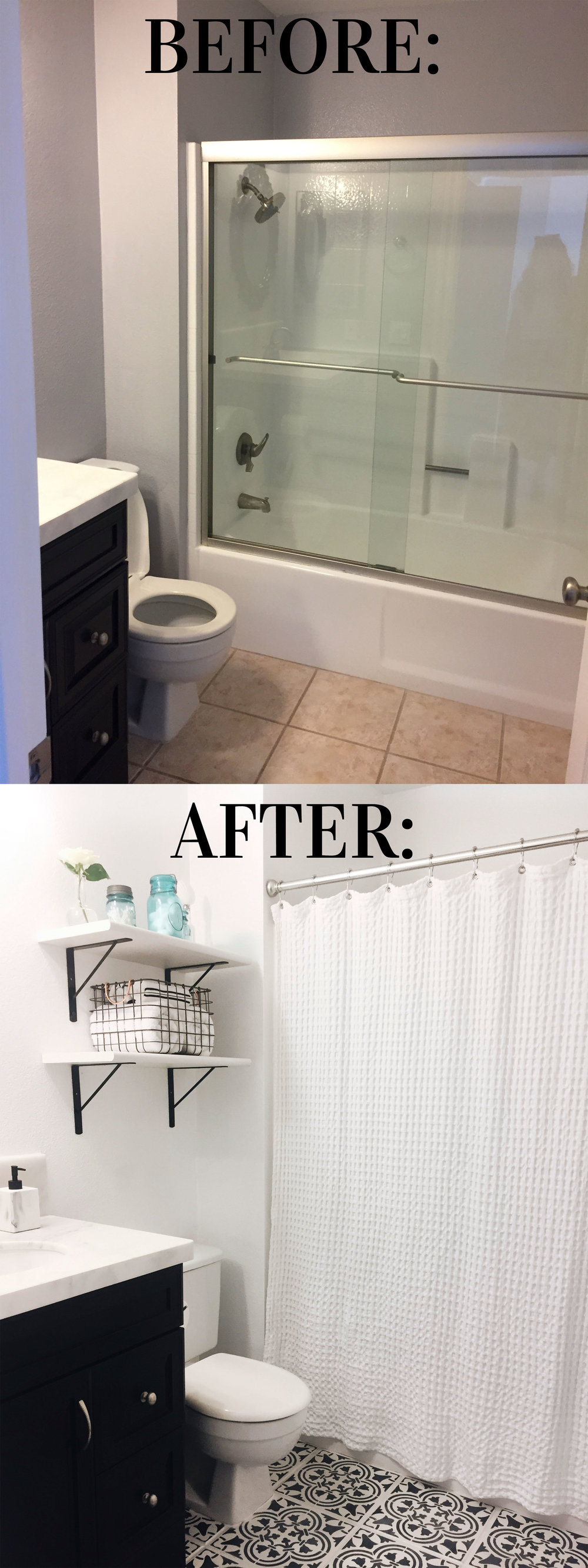 Diy for less moroccan inspired painted tile me and mr for Painting bathroom tile before and after