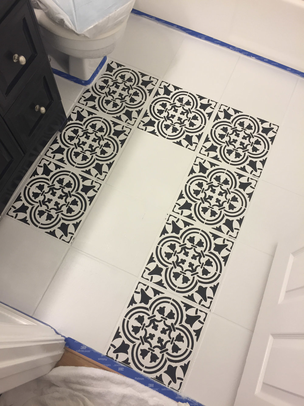 DIY painted moroccan tile_black white moroccan tile_cutting edge stencil augusta_black and white bathroom_16.jpg