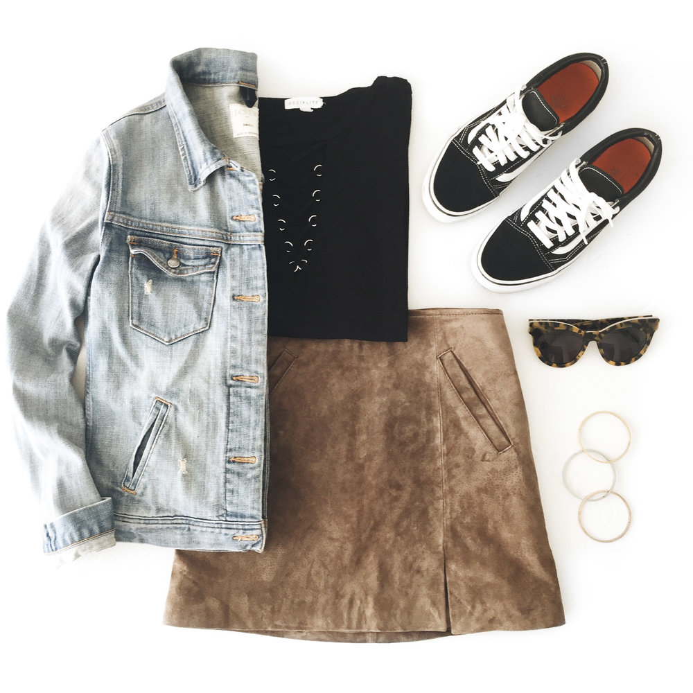 cute fall outfit, blank nyc suede miniskirt, grommet lace up tee, vans old skool outfit, j.crew denim jacket.