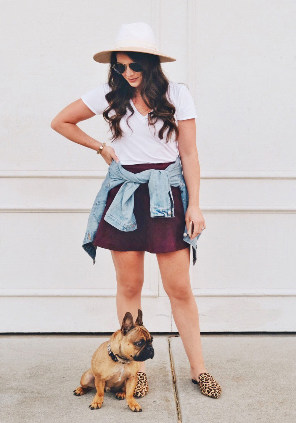SHOPBOP Sale Fall 2017.  Cute Fall Outfit.  BB Dakota faux suede skirt with leopard slides, white tee, and denim jacket.
