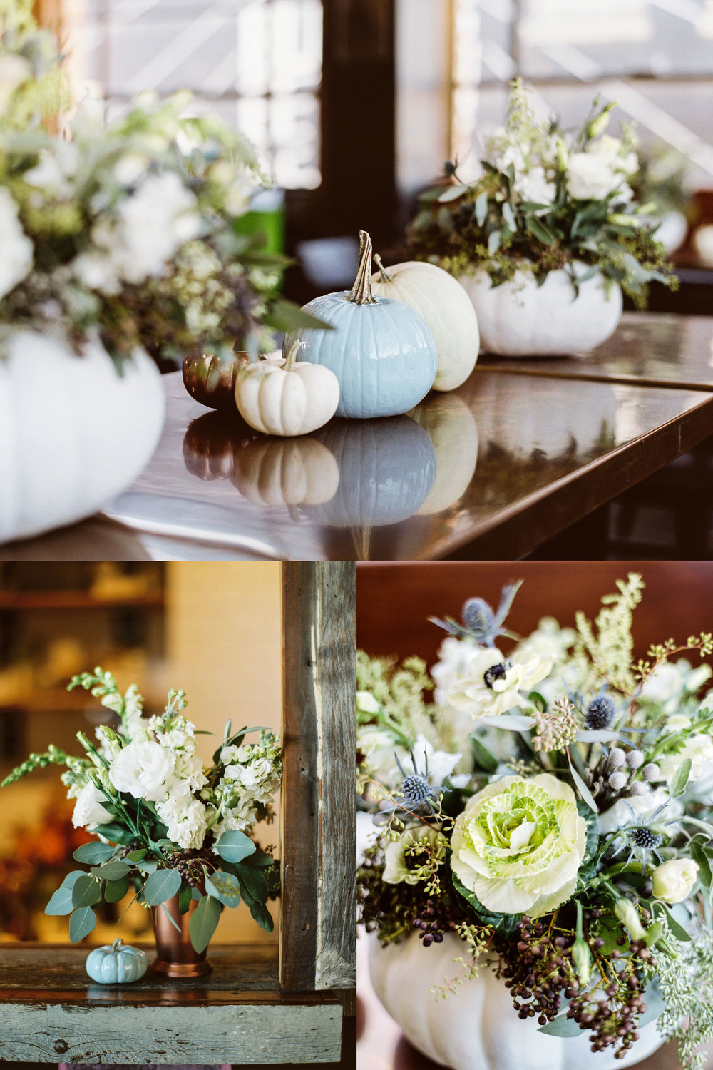 Fall baby shower.  Baby boy shower with pumpkin centerpieces. White blue and copper themed shower.  Whimsical baby shower flowers.