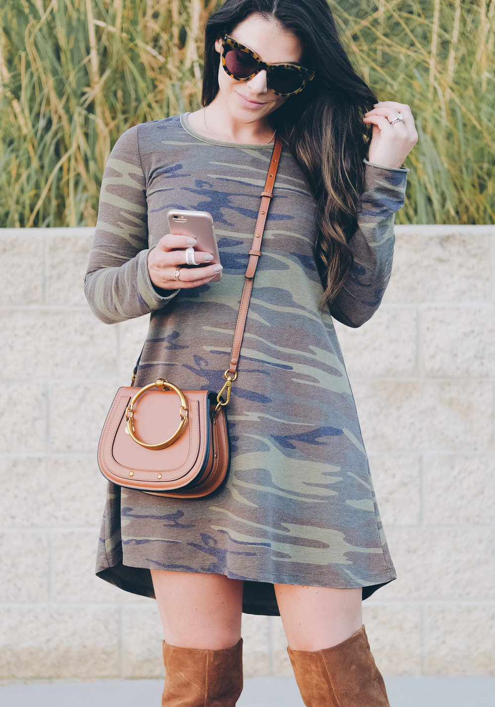 cute fall outfit_long sleeve camo dress_steve madden over the knee boots_chloe bracelet bag dupe_13.jpg