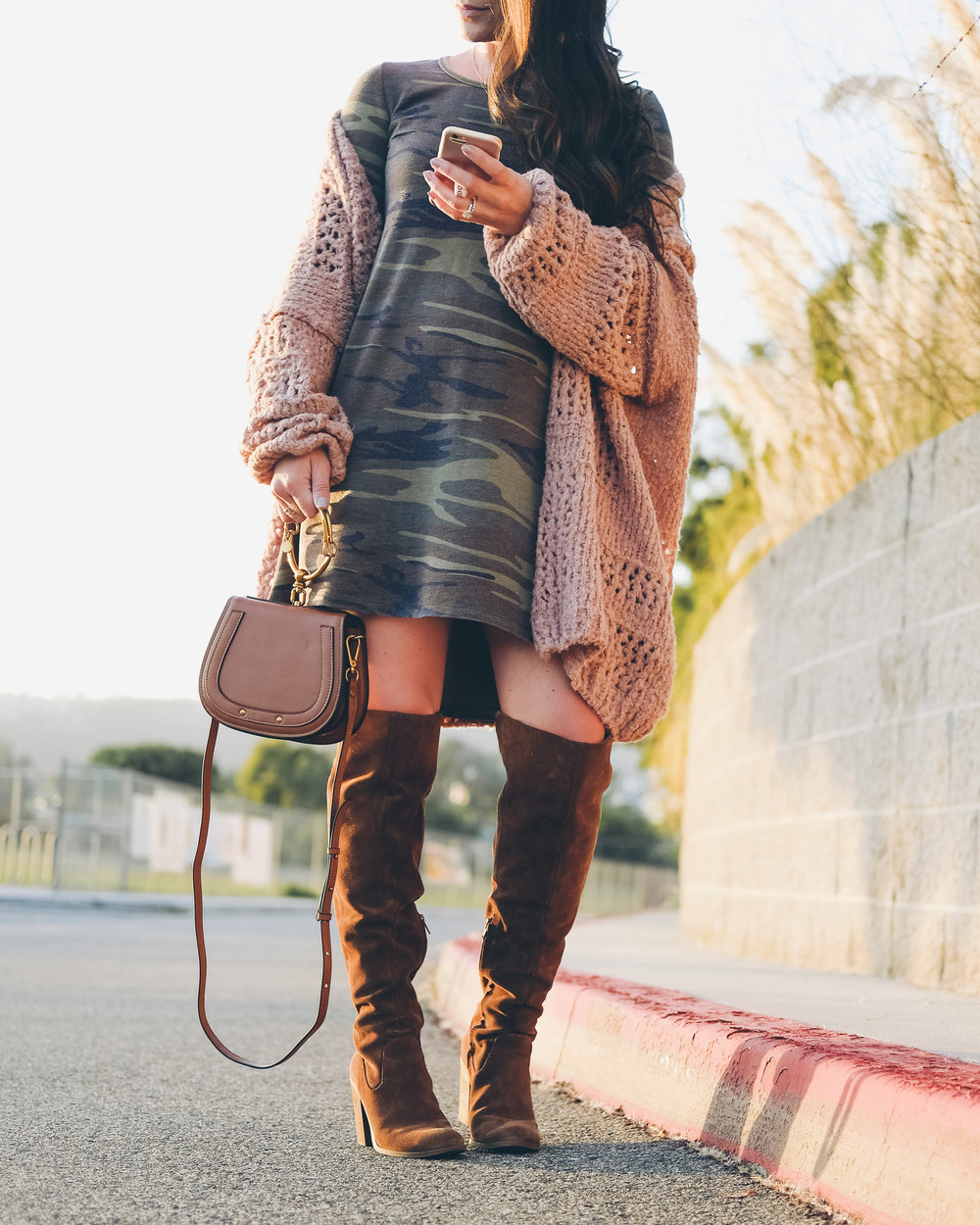 cute fall outfit, long sleeve camo dress, Steve Madden over the knee boots, Chloe bracelet bag dupe.