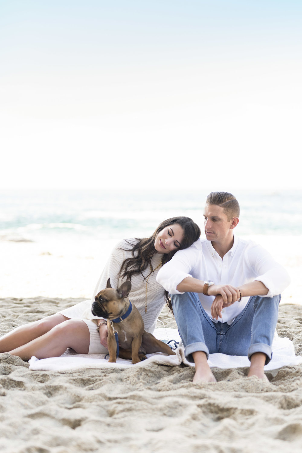 Maternity photos on the beach, french bulldog, Christmas photos neutral white outfits.