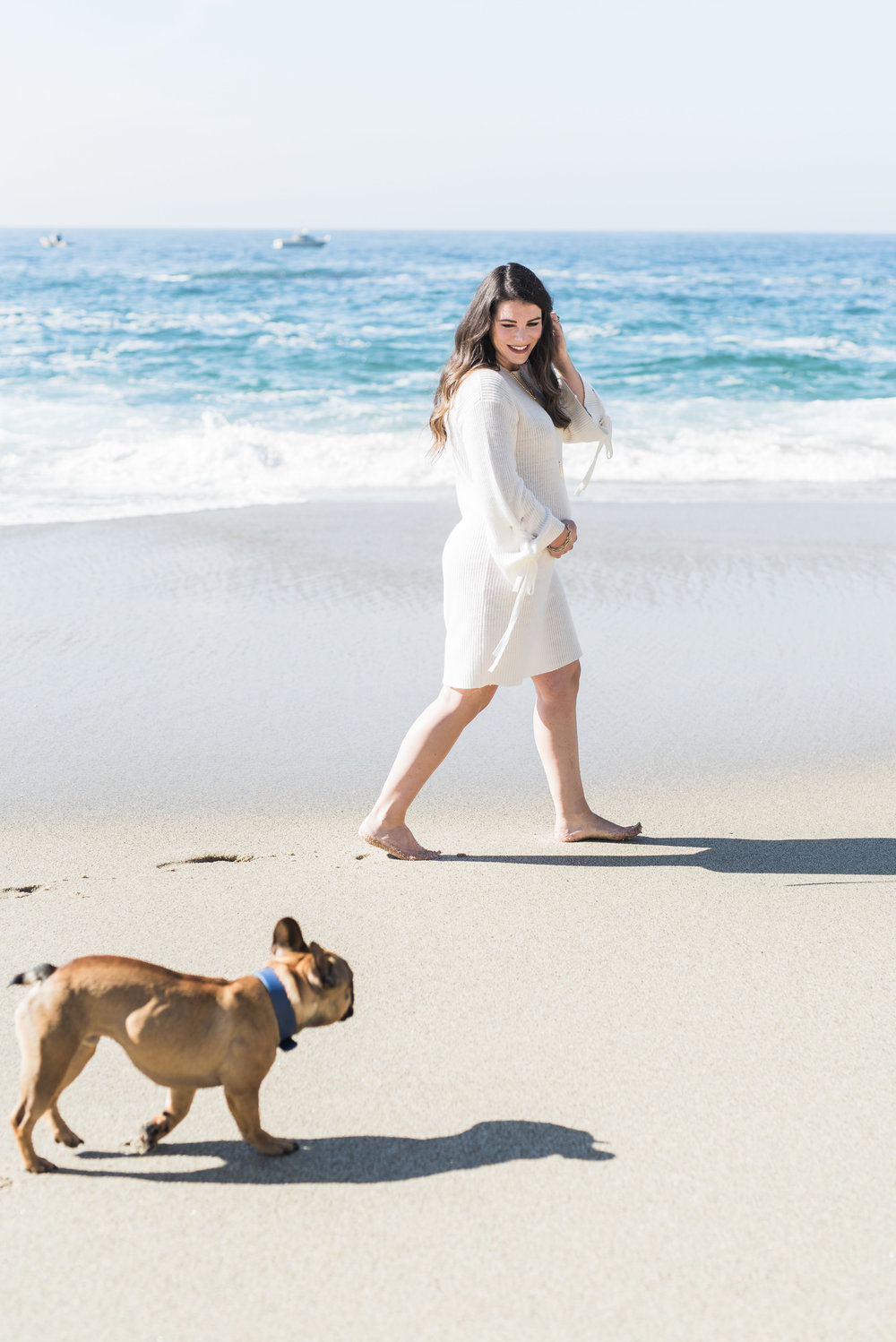 maternity photos on the beach_french bulldog_christmas photos neutral white outfits_01.jpg