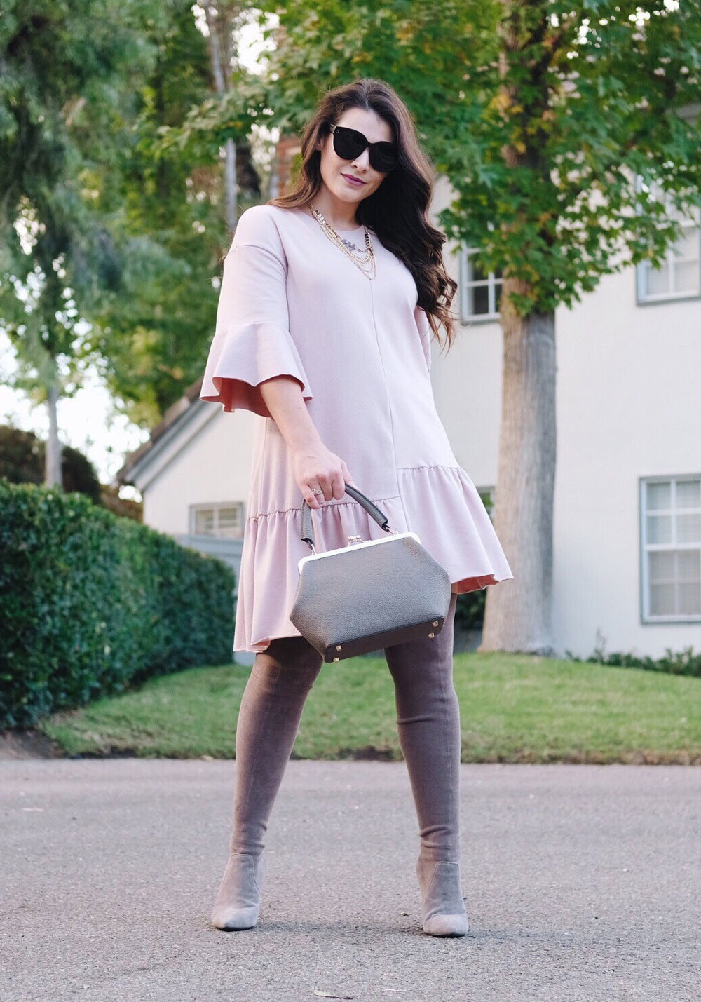 First Trimester outfit. Drop-waist sweatshirt dress with over the knee boots.