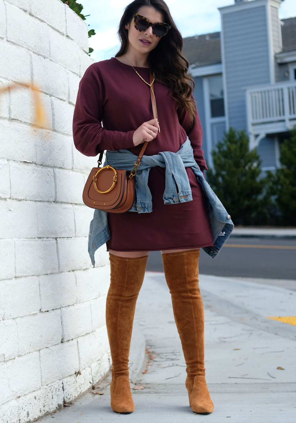 First Trimester Outfit. Sweatshirt dress with denim jacket and over the knee boots.