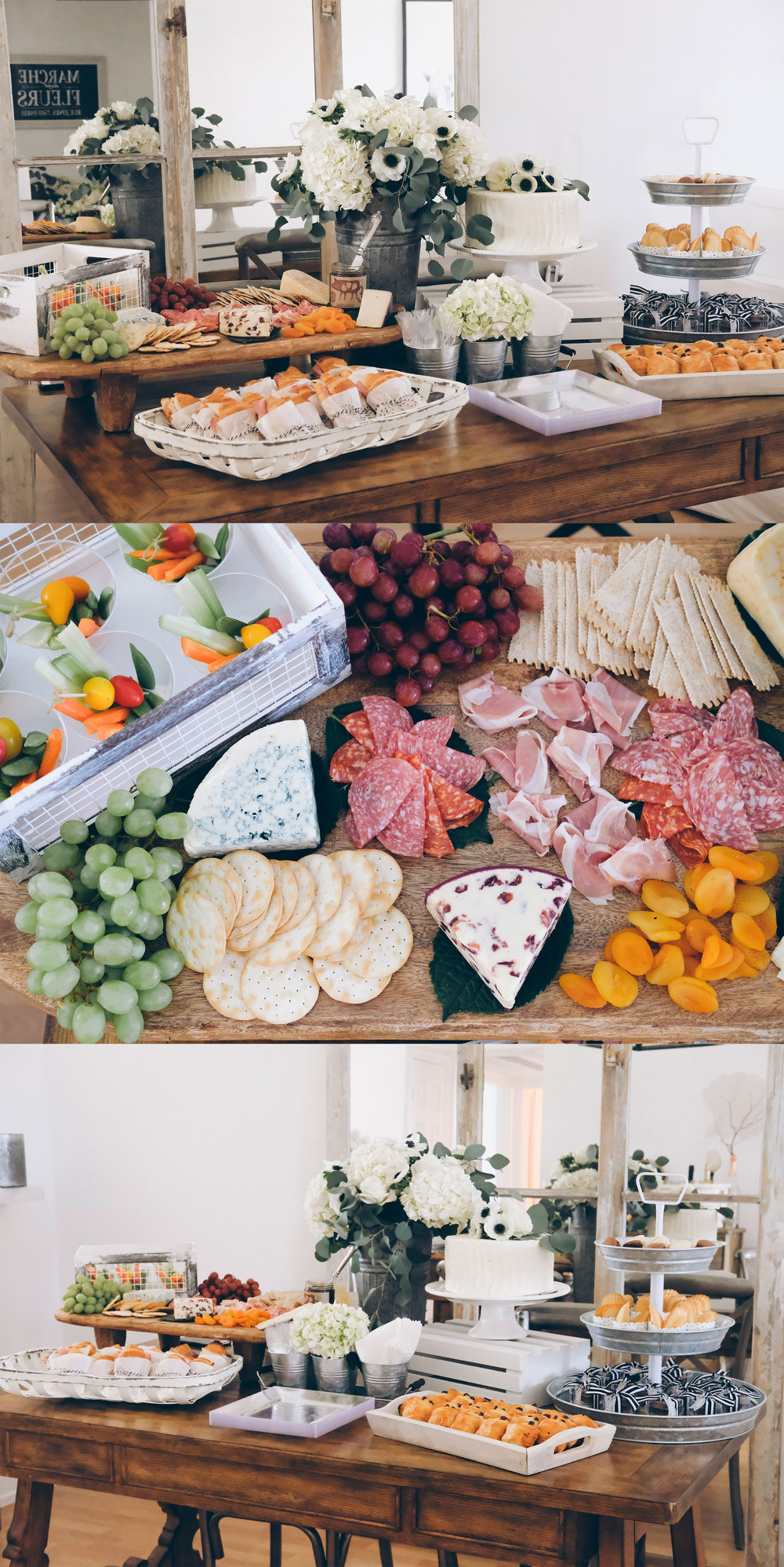 French Market Baby Shower.  Black and white boy baby shower.  French themed baby shower.  Neutral baby shower.   Cheese board inspiration.