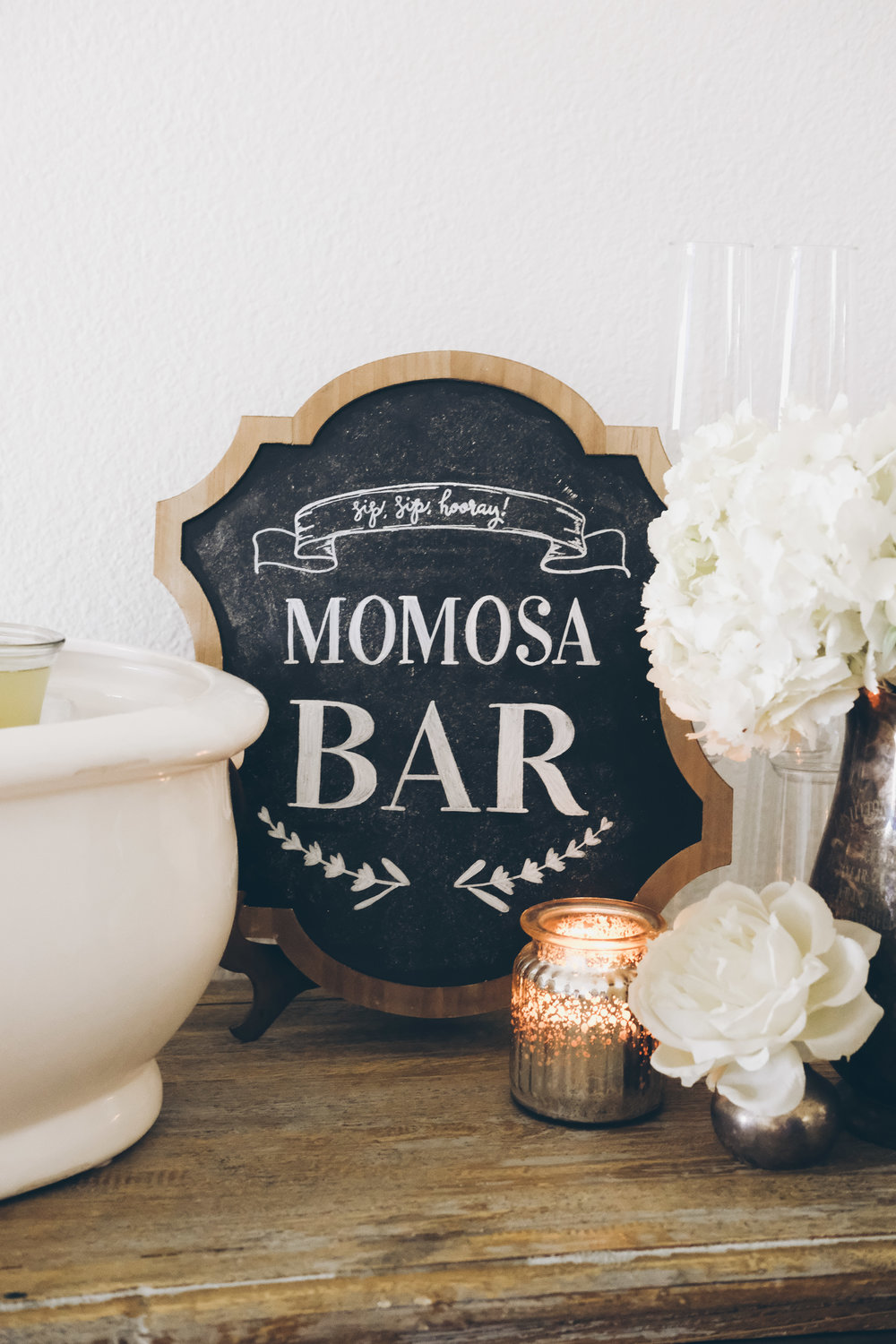 French Market Baby Shower.  Black and white boy baby shower.  French themed baby shower.  Neutral baby shower.  Momosa bar chalkboard sign. Baby shower mimosa bar.
