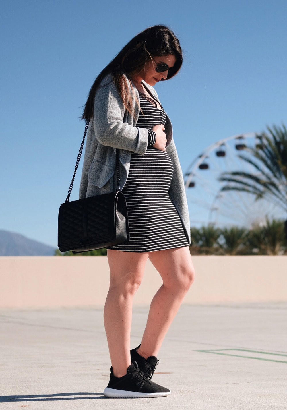 Second trimester maternity outfit.  Bodycon dress with cardigan, sneakers, and Rebecca Minkoff jumbo love crossbody bag.