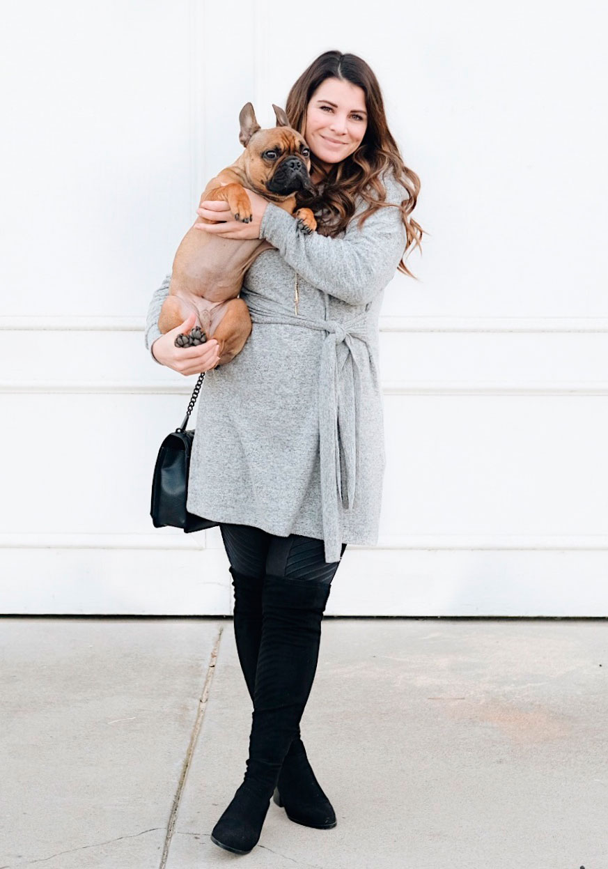 Second trimester maternity outfit.  Sweater dress with tie waist, spanx faux leather moto leggings, Steve Madden over the knee boots, and Gorjana necklace.
