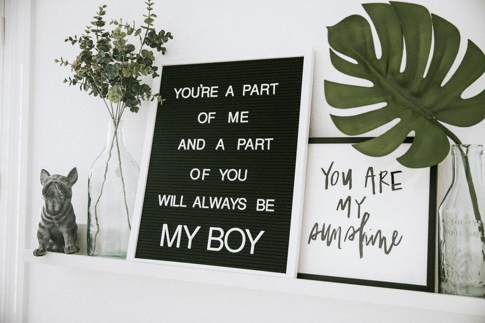 Neutral nursery.  Black and white nursery.  Letter board for baby boy nursery.
