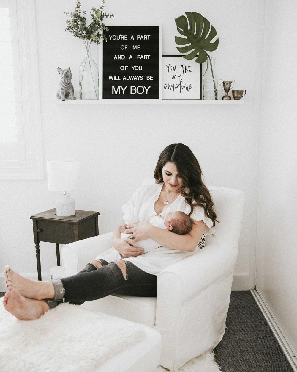 Neutral nursery.  Black and white nursery.  Slipcovered chair for baby boy nursery.  What to wear for newborn photoshoot.