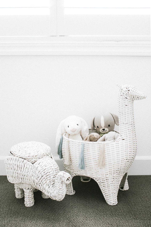 Neutral nursery.  Black and white nursery.  Nursery storage baskets.