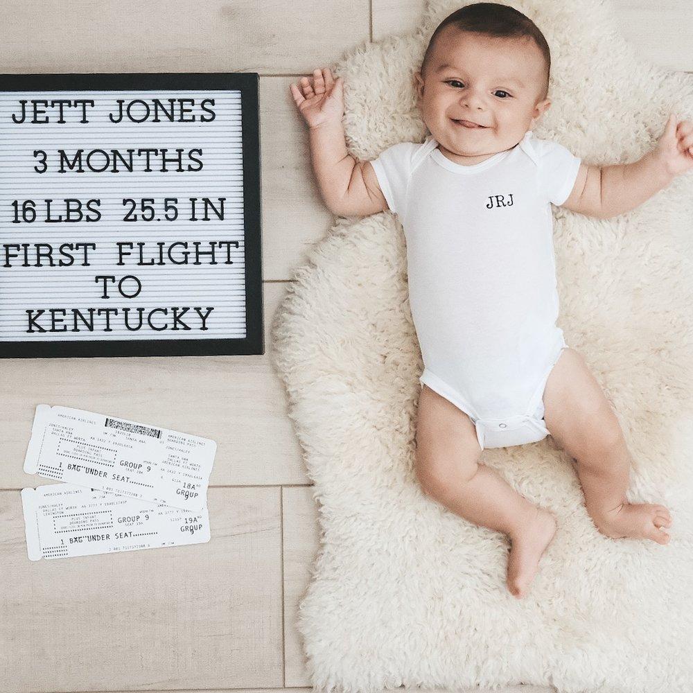 Baby Boy monthly photos.  Monogrammed onesie.  Neutral nursery.