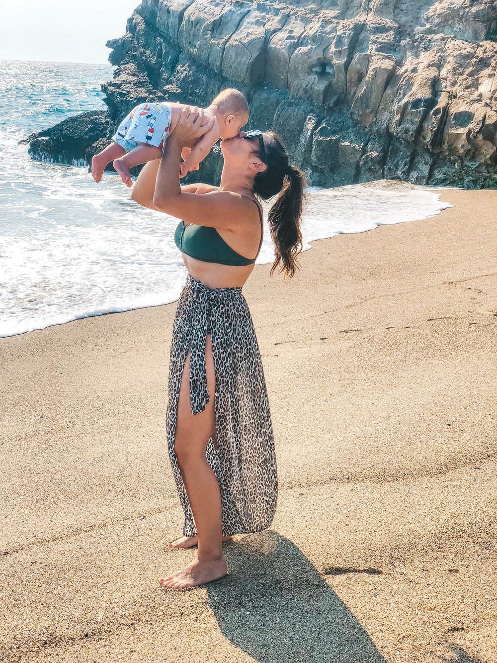 Postpartum beach outfit.  Beaufort Bonnet Company swimsuit for baby boys.