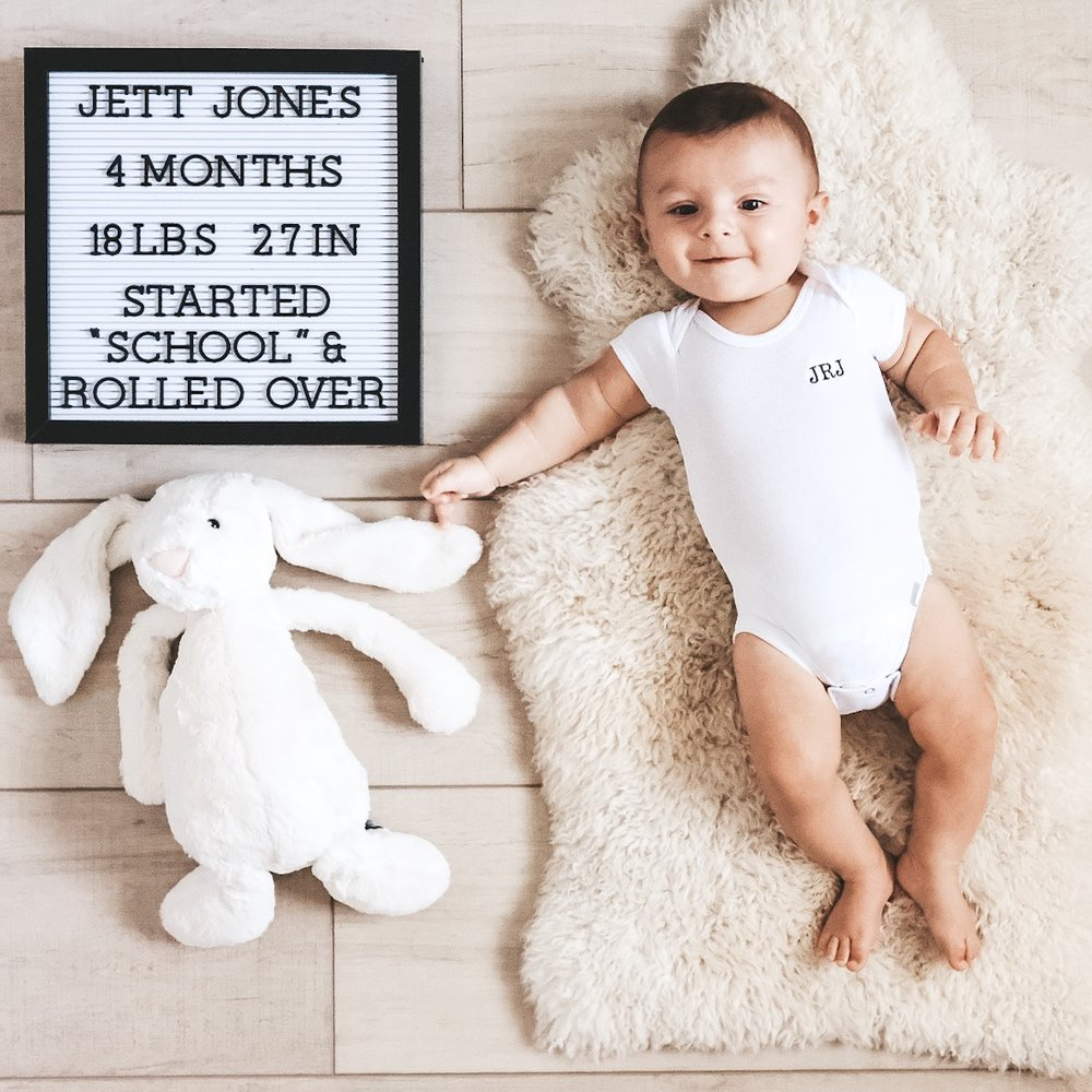 Monthly baby photos, 4 months old.  Neutral boy nursery.
