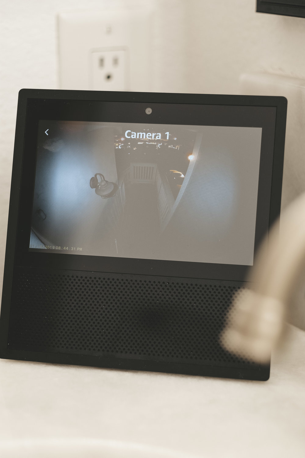 Panasonic HomeHawk front door camera review.  Panasonic HomeHawk shown on Amazon Echo Show.
