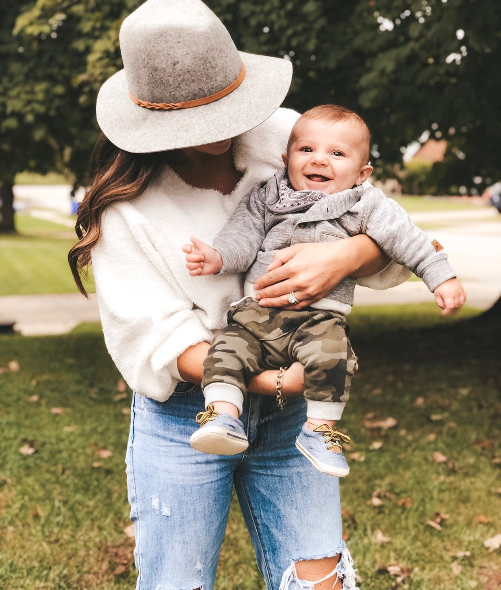 Mom style for fall.  Baby boy style.