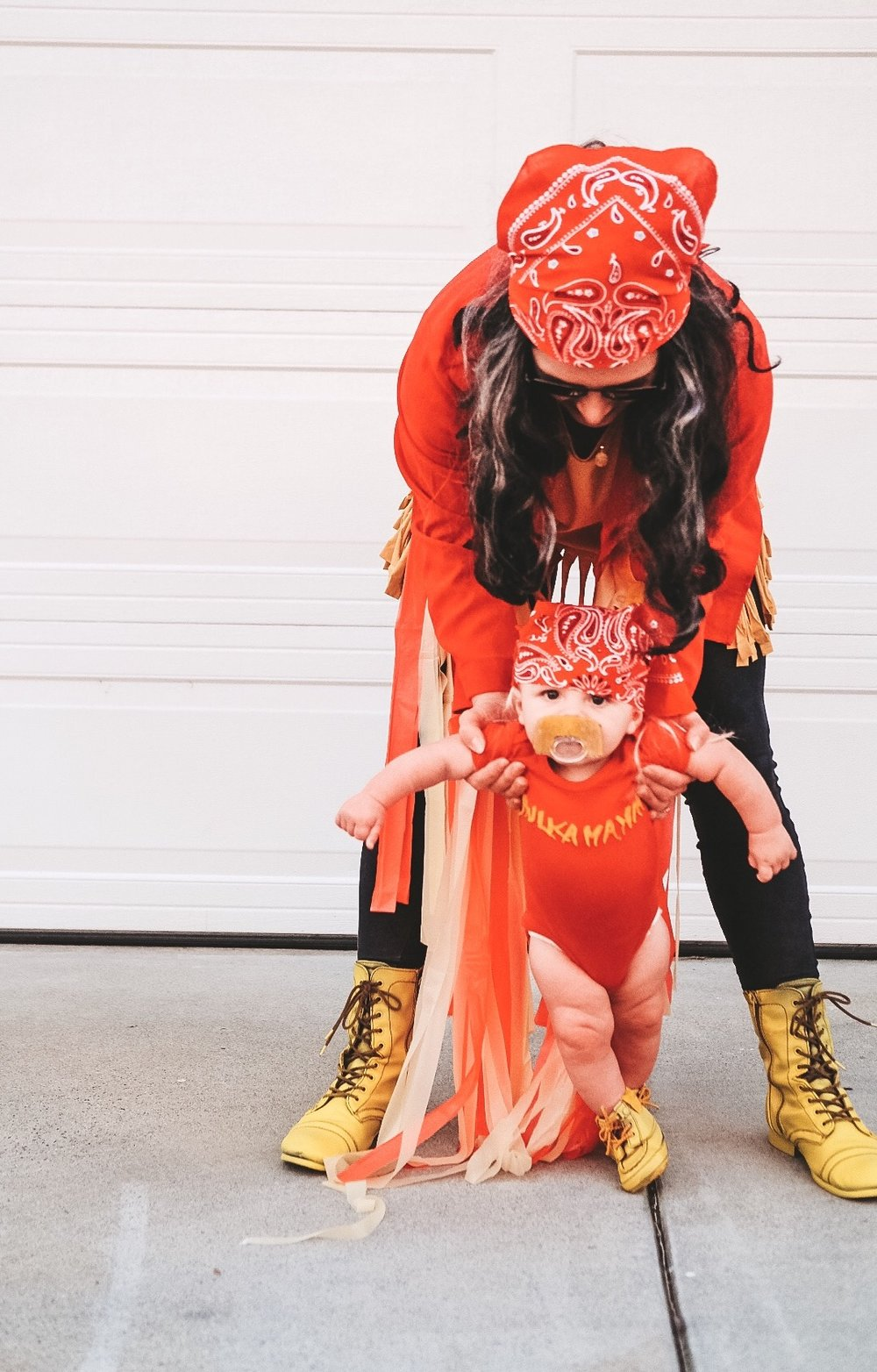 DIY baby Hulk Hogan costume.  DIY Macho Man Randy Savage costume.  Family Halloween costume.