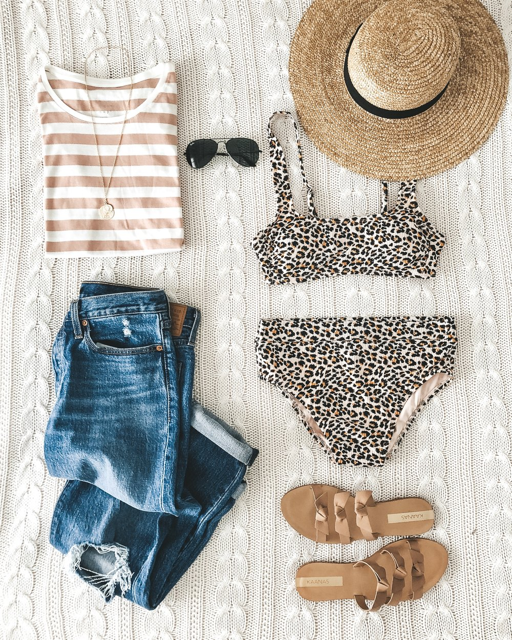 Cute summer beach outfit.  High waisted leopard bikini, straw hat, bow sandals, levi's wedgie fit, and a striped tee.