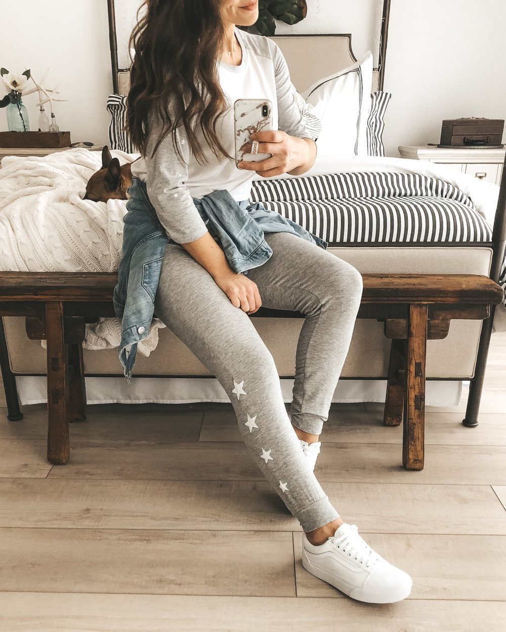 Z Supply star joggers.  Z Supply star baseball tee.  Vans old skool platform in white_jcrew denim jacket.  Cute weekend outfit.  Casual mom outfit.