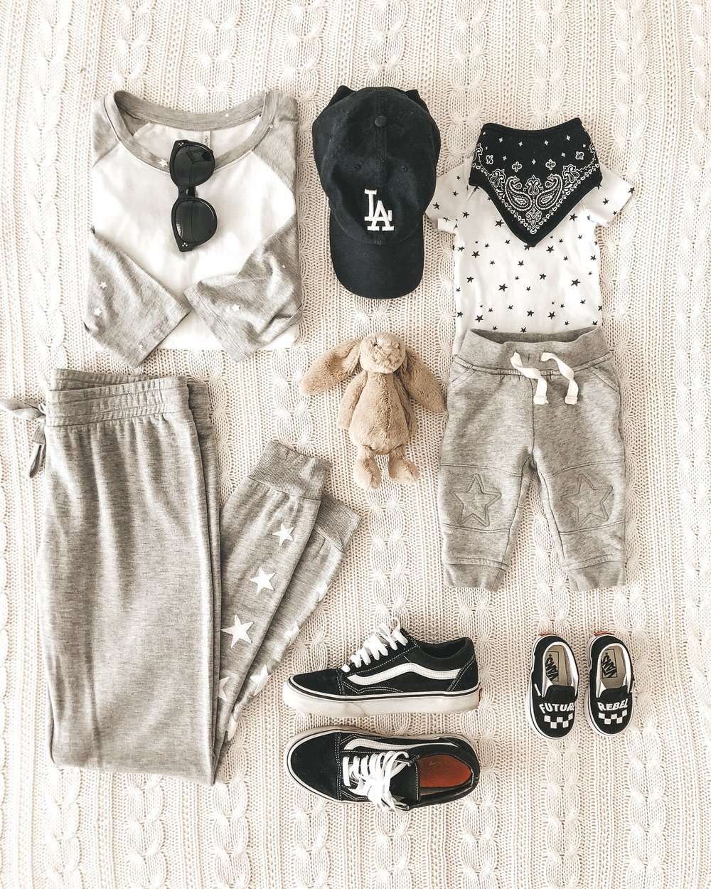 Mommy and me outfits. Monochrome outfits for baby and mom.
