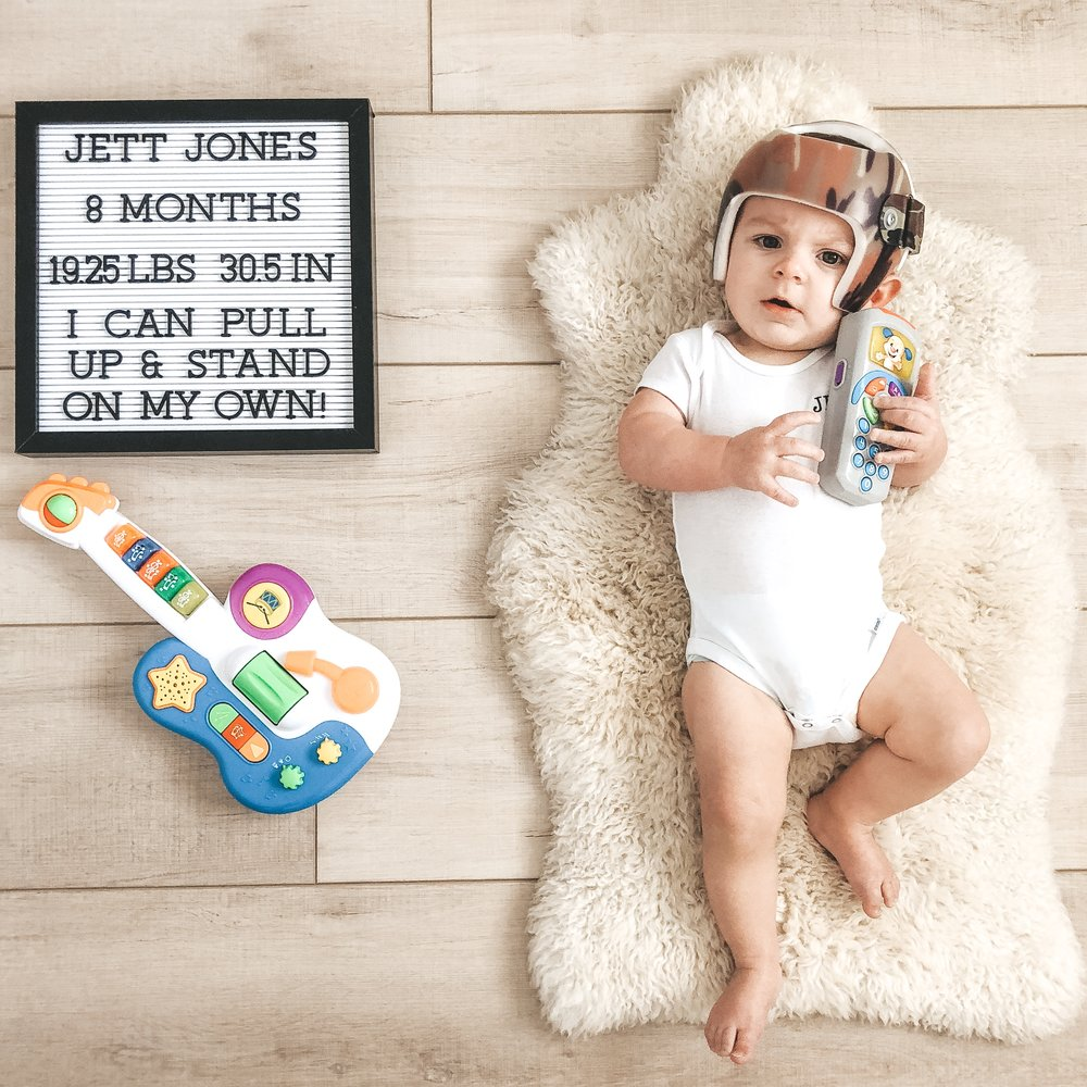 Jett Jones, 8 Months old.  Monthly photos of newborn baby boy.