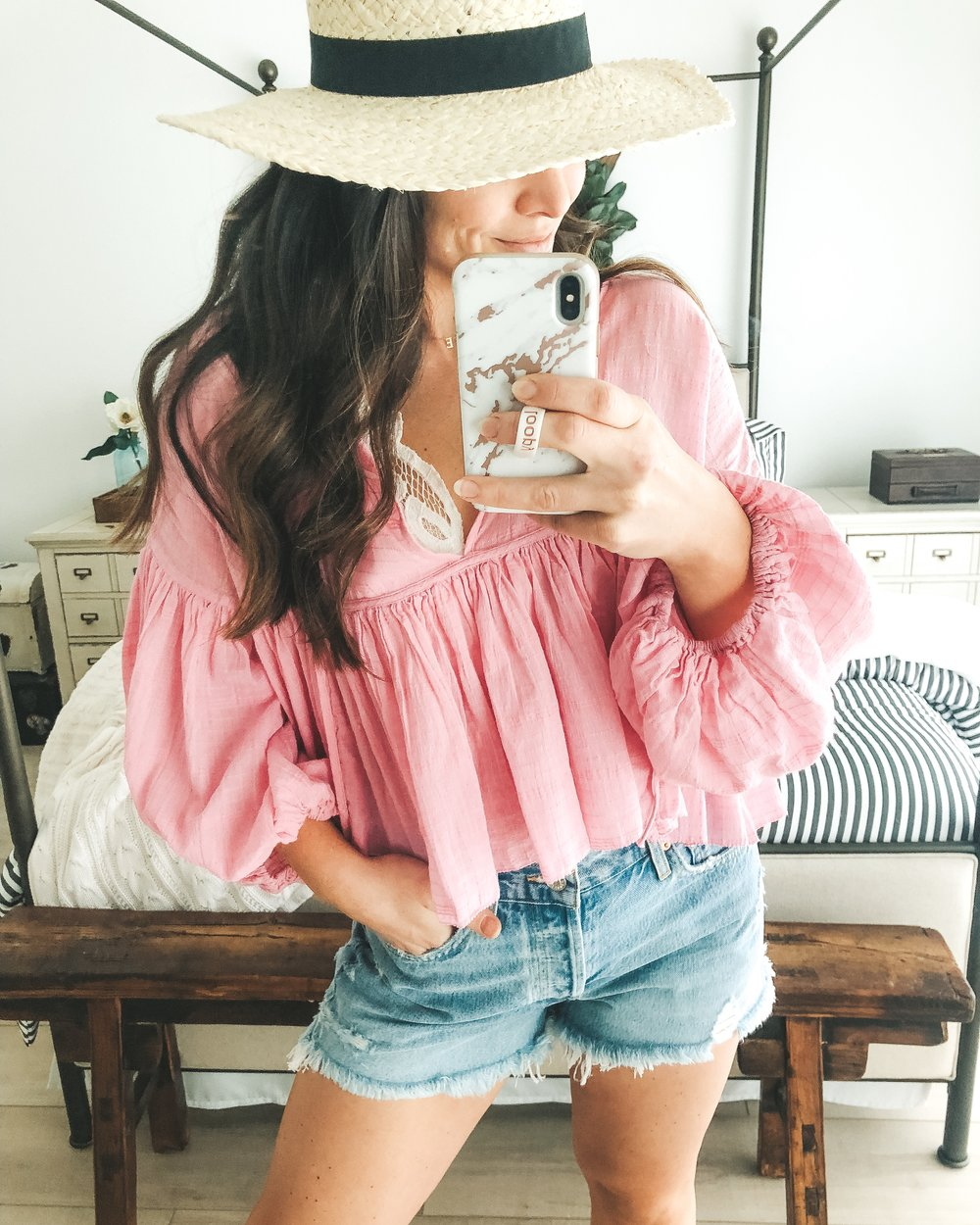 Free People Beaumont Mews top, AGOLDE Parker jean shorts.  cute summer outfit.